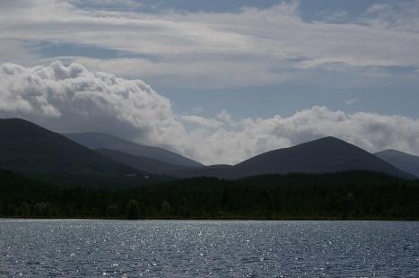 Loch Morlich with Cairngorms behind.